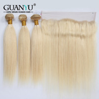Guanyuhair Remy Blonde Human Hair Bundles With 13X4 Lace Frontal Closure Indian Hair Straight Weave #613 Color