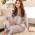 Mulheres De Seda Pijamas Set Pijama De Cetim Conjunto de Pijama Sleepwear Primavera Verão Treino L-3XL Kits Para O Sono