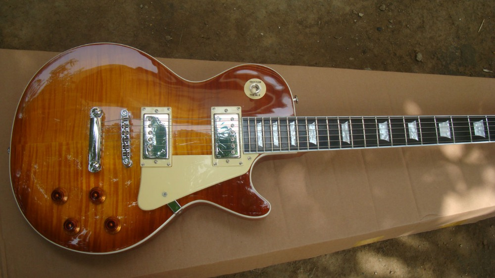 Brand guitars ebony fretboard fret end binding VS merry vintage sunburst standard flamed top guitar brown Mahogany free shipping yamaha ll ta brown sunburst
