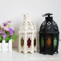 Retro Lantern Hanging Colorful Colorless Transparent Hollow Out Candle Lantern Glass Candle Holder Home Restaurant Decoration