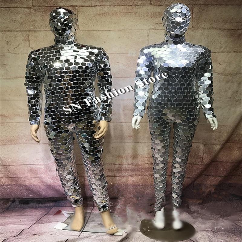 DC78 Ballroom dance costumes singer stage show wears mirror clothes dj party bar club performance robot suit women dresses disco