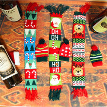 Christmas Decorations For Home Santa Claus Wine Bottle Cover Clothes Set Hat Cap Scarf Table Decor
