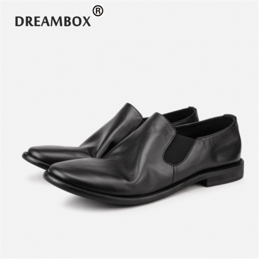 2017 Spring Tilted up Toe Cow Leather Chaplin Style Comfortable Loafer Pointed Toe Big head Leather Casual Shoes