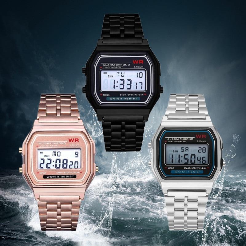 Ultra-thin F91w Sports Children's Electronic Watches Alarm Children Clock Stainless Steel Strap Men Watch For Kid Boy Girl Gift