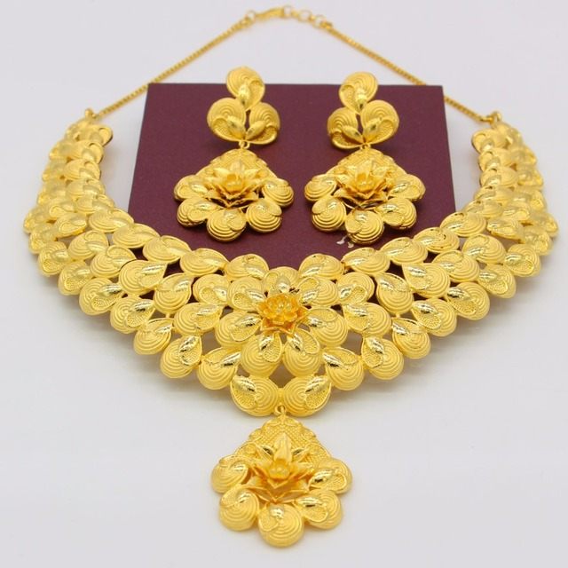 Adixyn Gold Flowers Necklace Earrings Set Jewelry Women Girls Gold Color Romantic Arab/Ethiopian/African Wedding Accessories