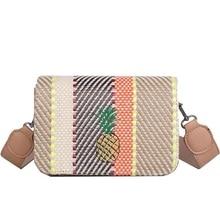 2018 Summer New Women Crossbody Bags Korean Style Striped Straw Bag Vintage Embroidery Pineapple Smallholuder Messenger Flap