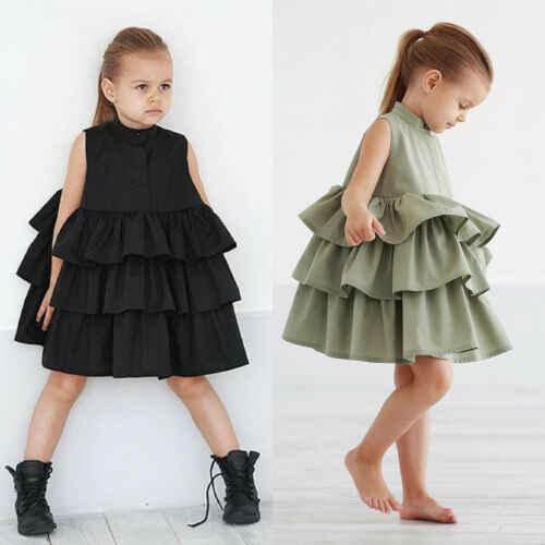 Toddler Newborn Kid Baby Girls Party Pageant Cake Ruffle Tutu Sleeveless Black Green Colors Bubble Clothes Dress