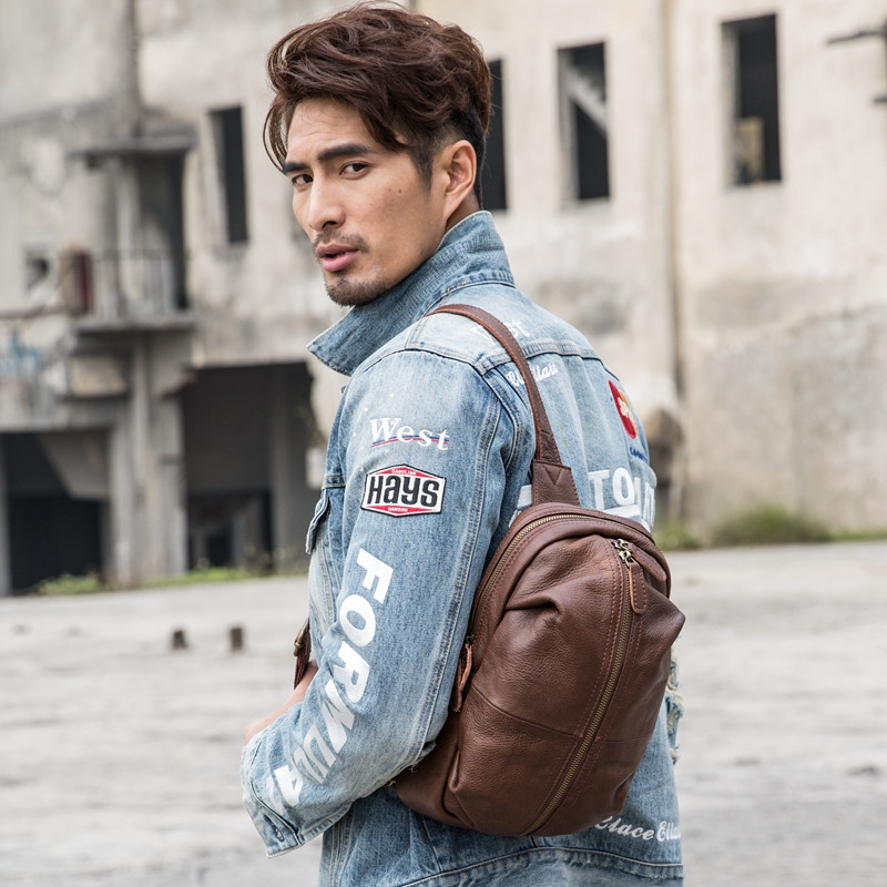 PNDME vintage high quality genuine leather men 39 s chest bag casual designer soft cowhide shoulder bag daily simple messenger bags in Waist Packs from Luggage amp Bags