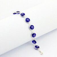 925 Sterling Argent Classique Turc Royal Mauvais Oeil Bleu Bracelet Femmes Italie Murano En Verre Fait À La Main Bijoux Nazar Juif