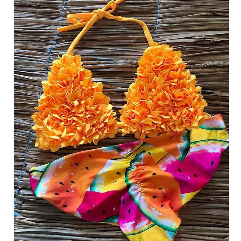 2434841ea2b60 VIEUNSTA пикантные для женщин бикини в цветочек купальники для малышек  Новый Холтер печатных комплект бикини купальник