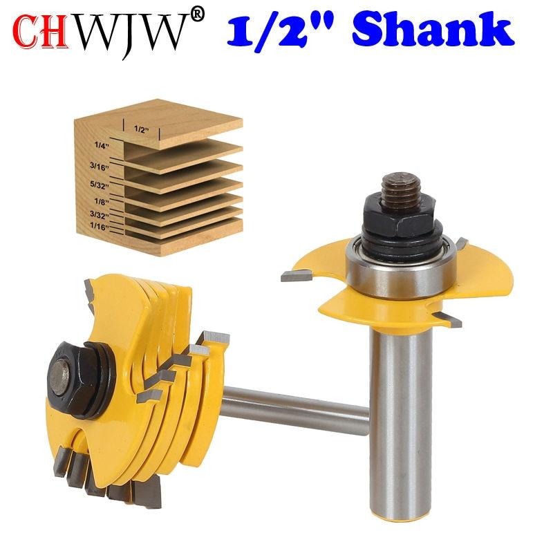 """2PC 1/2 """"& 1/4"""" Shank 6 Piece Slot Cutter 3 Wing Router Bit Set Utensile per taglio legno Scalpello Utensile per taglio scalpello per utensile per la lavorazione del legno"""