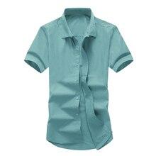 Shirt Summer Men's Slim Solid Color Short Sleeve Shirt S-XXXL Men's Business Casual Cotton Sweat Breathable Short Sleeve Shirt цена
