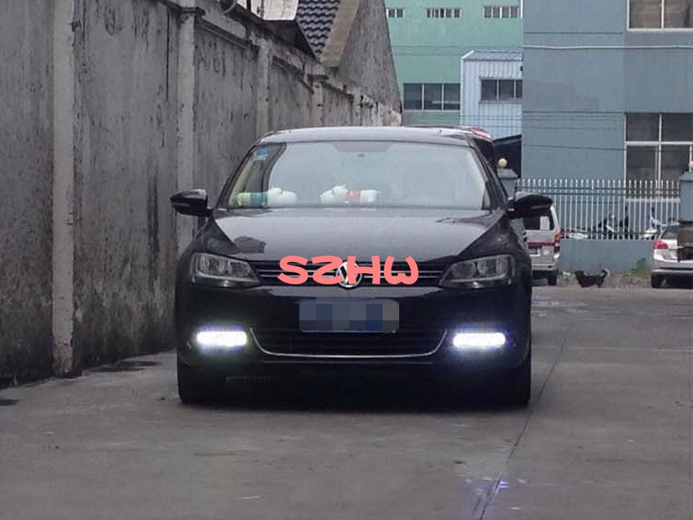 July King LED Daytime Running Lights DRL With Fog Lamp Cover LED Fog Lamp case for VW Sagitar Jetta 6 2011~14 Without Fog Lamp