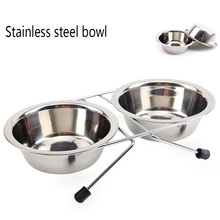 Elevated Skid Dog Bowl Double Bowl Stainless Steel Bowl Pet Feeder with Two Stainless Steel Bowls stainless steel dog bowl silver size l 1000ml