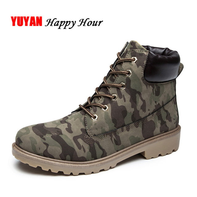 Winter Boots Men Winter Shoes Camouflage Warm Plush Fashion Brand Mens Ankle Boots male shoes