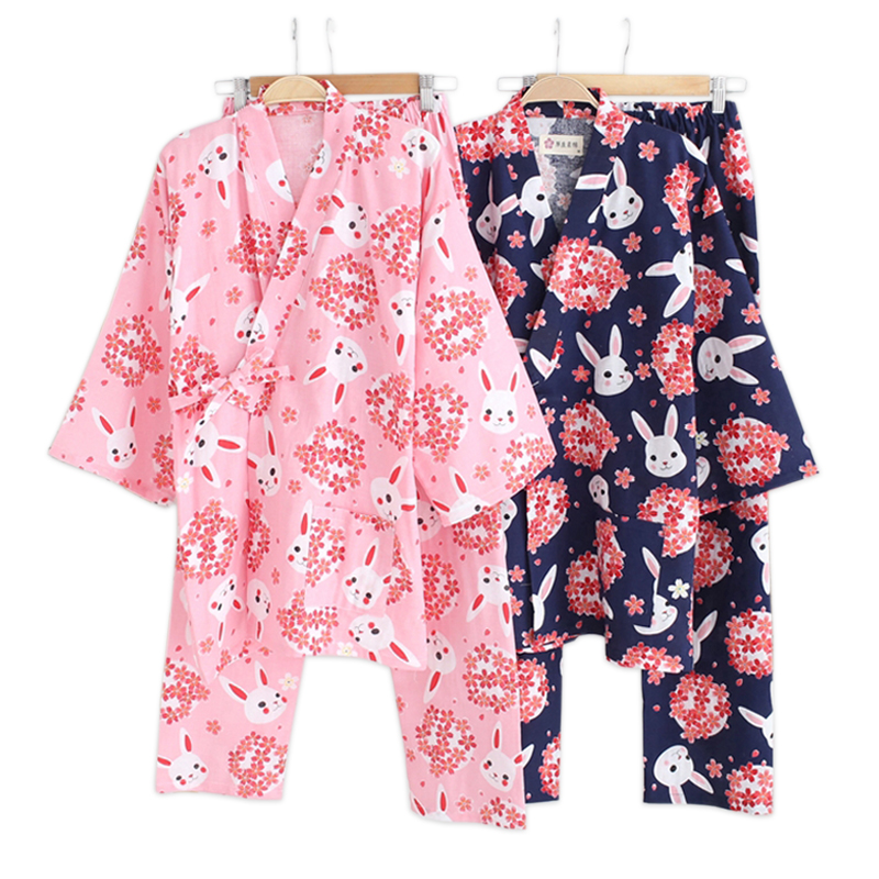 Spring sakura rabbit kimono   pajamas     sets   women 100% cotton double gauze long sleeve sleepwear Japanese kimono women