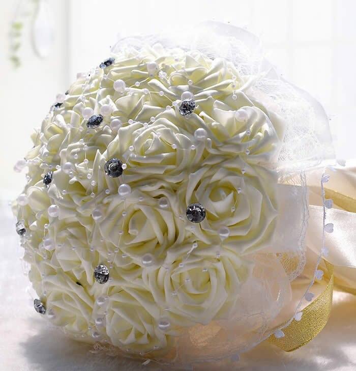 Gris Plata Flores Plumas de dama de honor de novia Boda Marfil Corsage Ojales