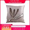 Funda de almohada decorativa sirena lentejuelas colorido cuadrado claro de cremallera almohada coche sofá funda de cojín 40*40 cm