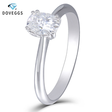 DovEggs 14k White Gold 1ct Carat 5X7mm F Color Lab Created Moissanite Diamond Engagement Rings For Women Solitaire Gold Ring