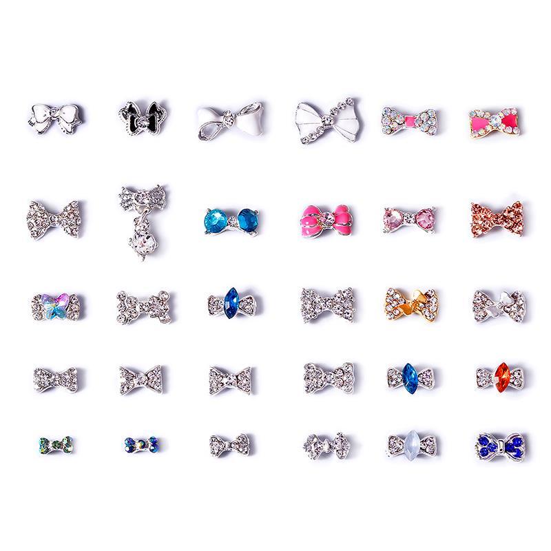 10 adet yeni 30 stilleri tırnak taklidi ilmek alaşım tırnak aksesuarları Imbue elmas inci tırnak mücevheri kristal tırnak sanat DIY takı