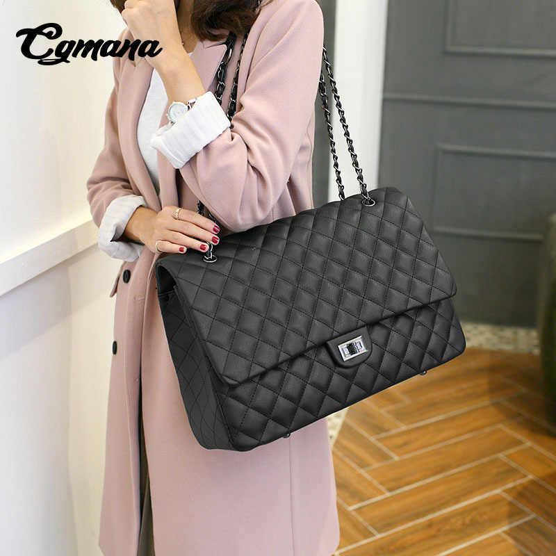 7547fe451fbe8 ... CGmana Large Capacity Bag 2018 Large Shoulder Bag Women Travel Bags  Leather Pu Quilted Bag Female ...