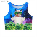 Hiawatha Harajuku Character Cat Printed Tanks Women Spring Sleeveless Crop Tops Slim Animal Vests Elastic Camis Tees T2701