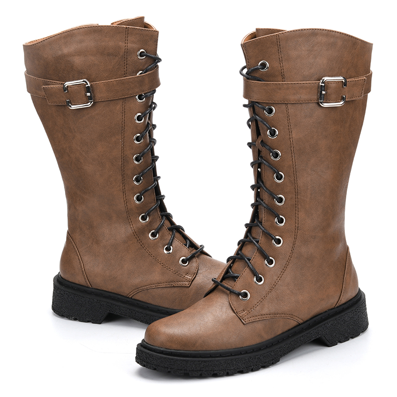 Ta Jiang Fashion Warm Plush Winter Women Mid-Calf Boots For Women Shoes Leather Lace-Up Autumn Zip Motorcycle Boots Shoes Woman