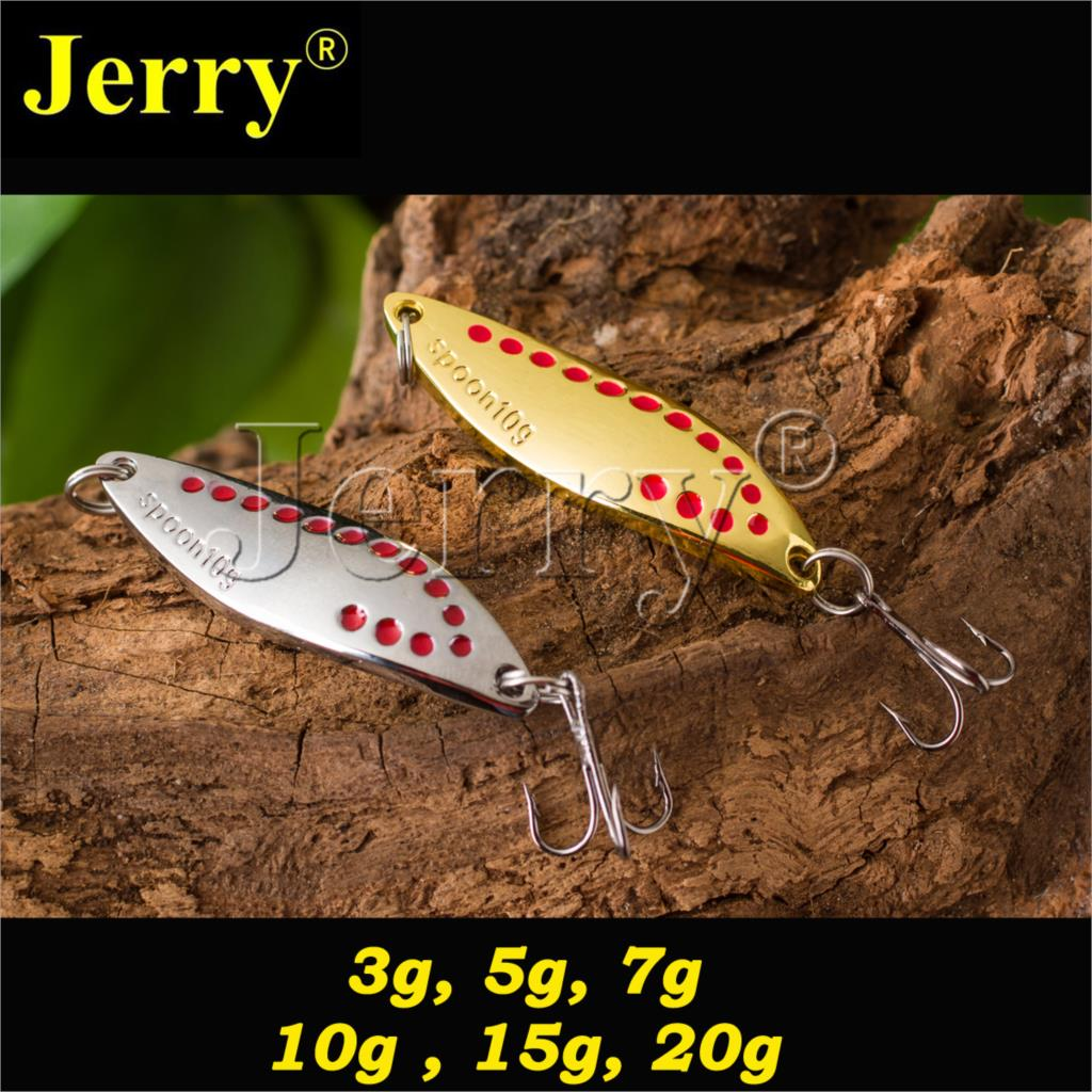 Jerry 5pcs long casting spoons bass salmon pike free tackle box metal lures freshwater fishing spinner bait