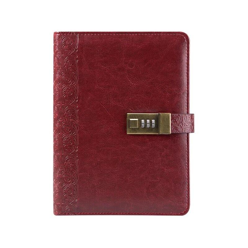 CAGIE a5 Liant Cahier Journal avec Serrure Vintage Revues En Cuir Ligne Pages Spirale Palnner Recharge Cadenas Portable Voyageurs