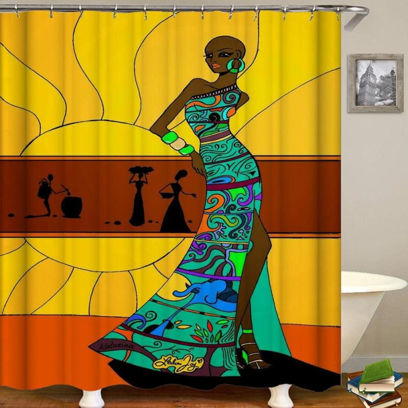 African Woman 3D Shower Curtains Waterproof And Mildewproof Bathroom Shower Curtains Polyester Fabric Bathroom Curtain F