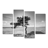 FREE SHIPPING Black and White Artwork Tree Canvas Prints Wall Art Modern Seascape Paintings for Living Room and Bedroom Unframed