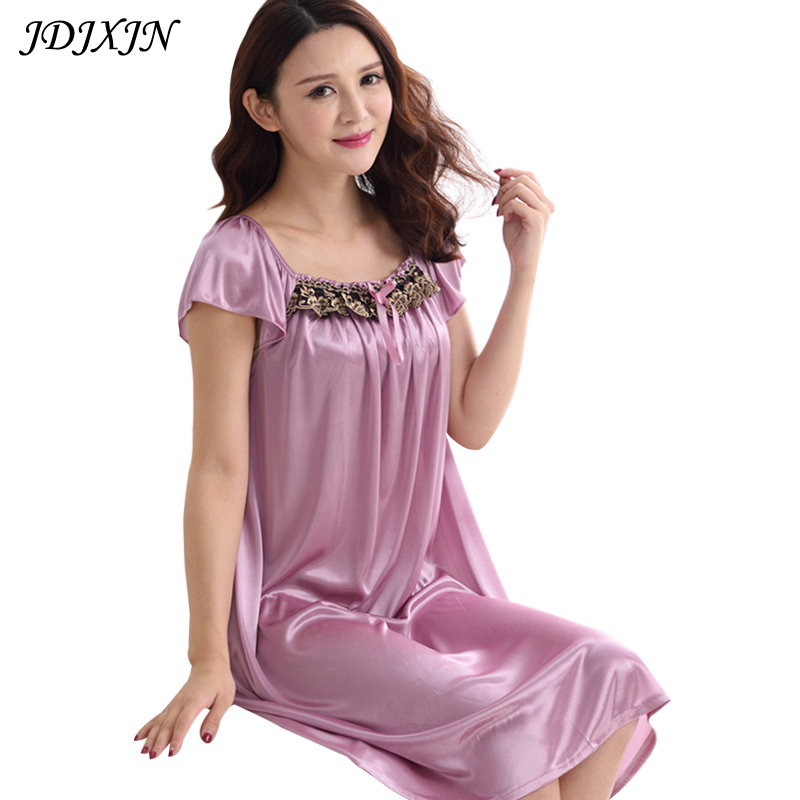 Hot Sale Nightgowns & Sleepshirts 2017 Women Summer Style Nightdress Bath Robe Longue Of Faux Silk Bathrobe Sleepwear JX51