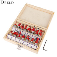 DRELD 15pcs Milling Cutter Router Bit Set 1 4 Inch 6 35mm Shank Carbide Wood Cutter