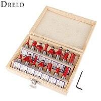 DRELD 15pcs Milling Cutter Router Bit Set 1 4 Inch 6 35mm Shank Carbide Wood Cutter