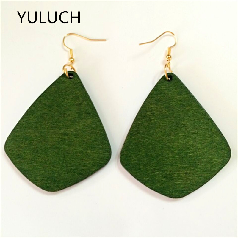 good quality african Unfinished square design green wood earrings jewelry pair 2016 new design personality latest