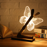 EU & US Plug 3D Butterfly Wood Stand Lamp Bedroom lamp Warm White Lighting Plug Connector Home Ornament Baby Gift Lights