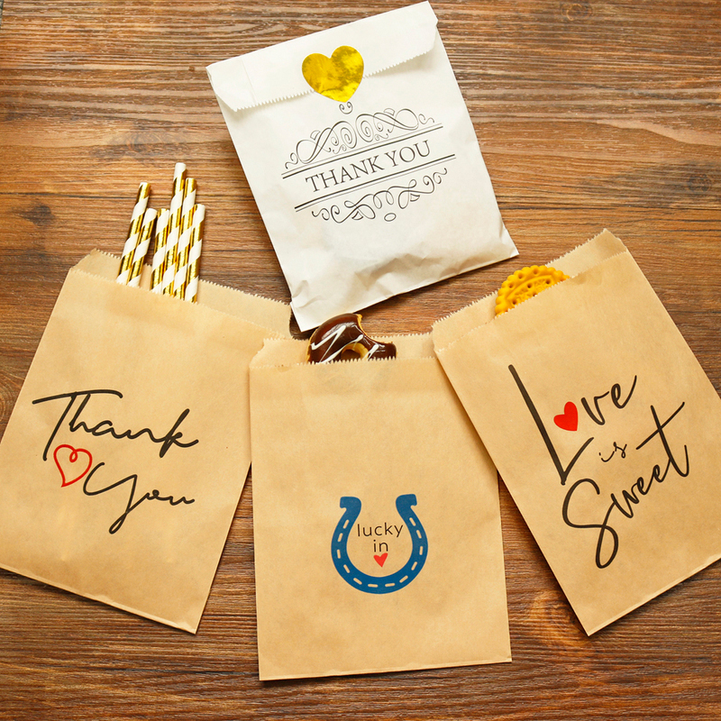 25pcs Thank You Kraft Paper Bag Colorful Polka Dots Striped Chevron Paper Gift Bag Wedding Candy Bags Birthday Gift Packaging