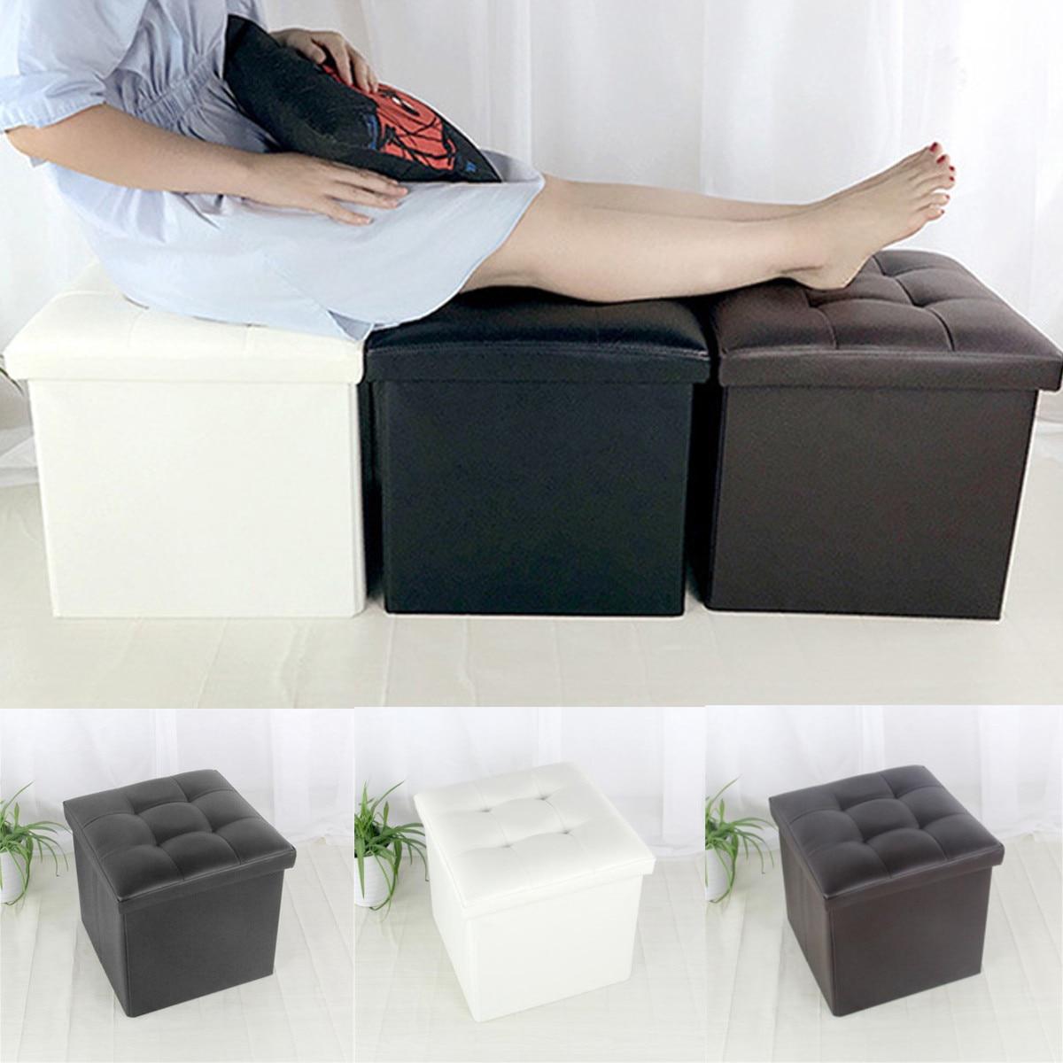 Leather Footstool Sofa Ottoman Folding Footrest Seat Lounge Simple  Imitation Leather Footstool Home Room Storage Box Chair