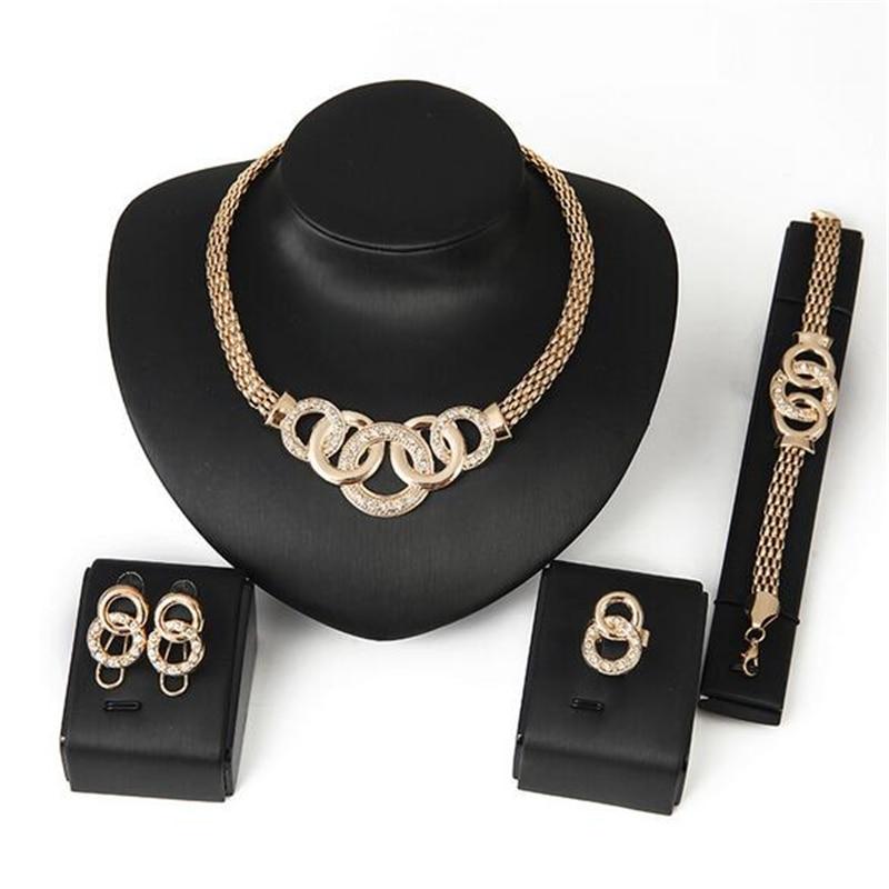 Jewelry-Set Necklace Statement-Ring Crystal Wedding Earrings Bracelet Fashion Clear Women