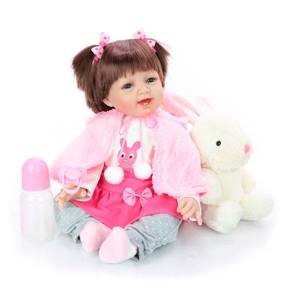 Sourire fille bébé poupée 55 cm bebes renaître silicone poupée jouets vivant infantile bébé avec de nouveaux vêtements en peluche doux menina de surprice cadeau