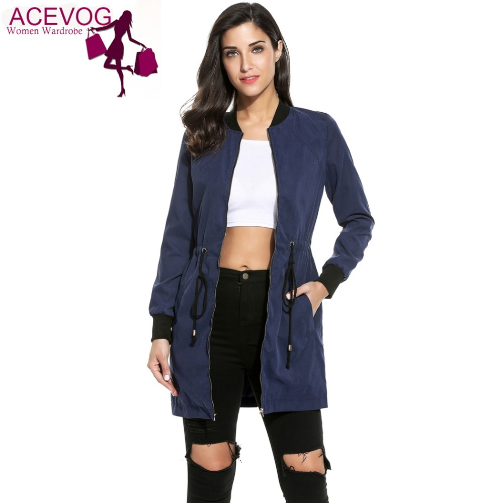 ACEVOG Spring Over Hip Casual Trench Women Fashion Long Slee