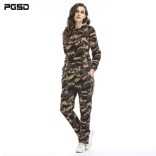 PGSD Spring autumn fashion Women Clothes Long sleeves Camouflage plus velvet Hooded Sweater Sports leisure trousers Suit female