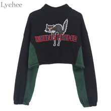 Lychee Spring Autumn Women Crop Top Going Home Cat Letter Embroidery Long Sleeve Fleece Jacket Coat