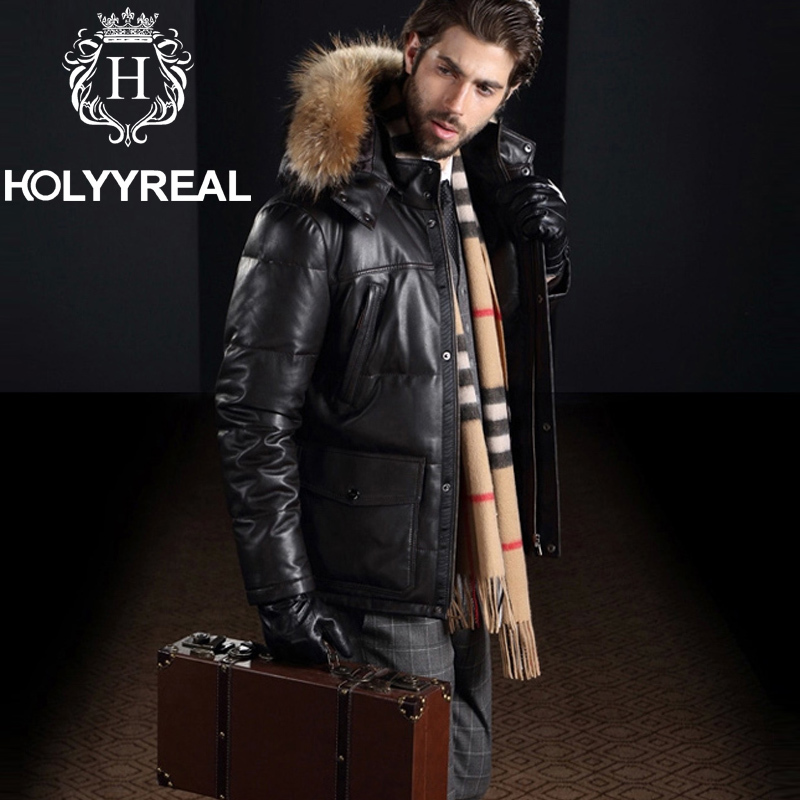Winter Fur Leather Clothing Men's Real Sheepskin Leather Jacket ...