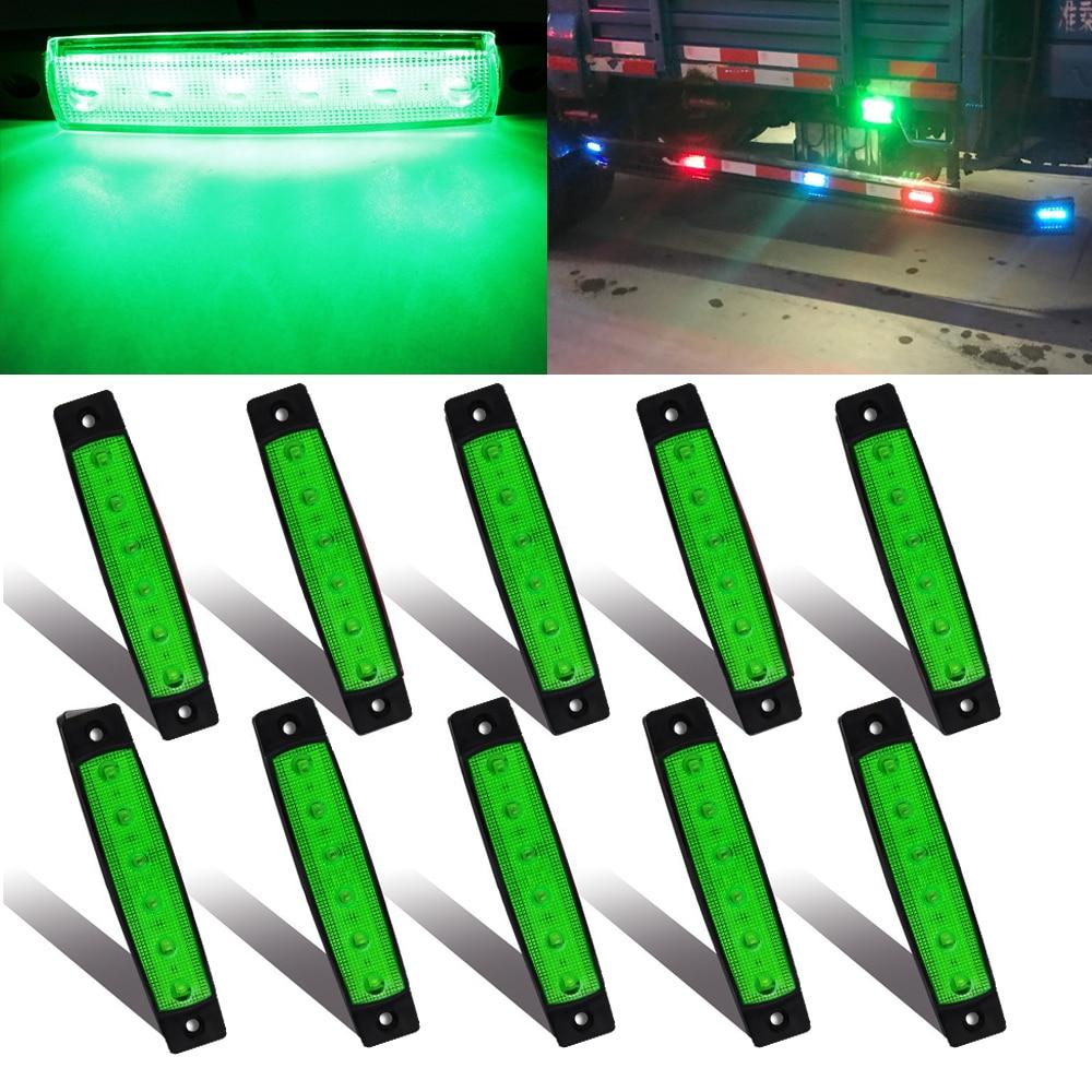 10x 12V 6SMD Amber Red White LED Side Marker Indicator Light Brake Signal Lamp for Car Bus Truck Trailer Lorry Blinker Light
