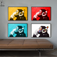Lovely Animal Canvas Art Print Poster, Minimalist Wall Painting for Living Room Children Decor, Nordic Cartoon Deer Beer