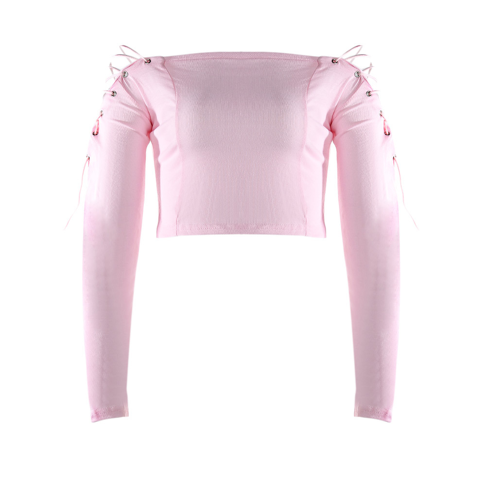 9d1cbd512c Yuerlian Women Slash Neck Lace Up t Shirts 2017 Female Off Shoulder t  Shirts Lady Long Sleeve Bow Tops Black Pink Streetwear Tee-in T-Shirts from  Women s ...