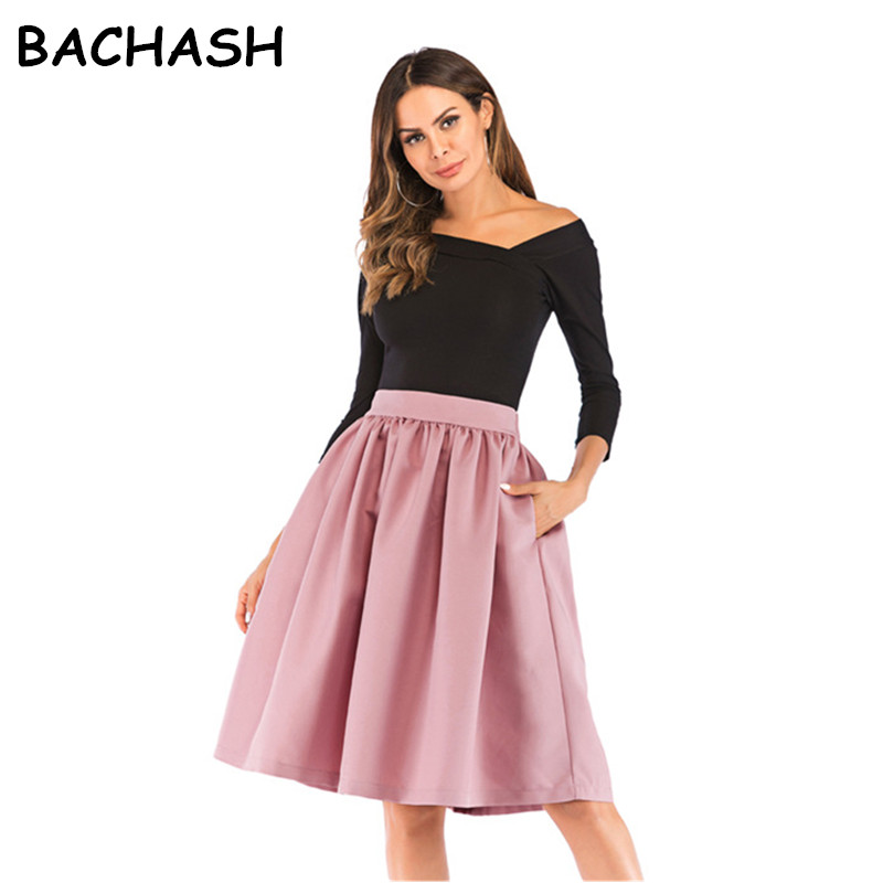 Bachash 2019 New Skirt Pockets Fashion Spring Autumn Ball Gown Skirt High Waist Female Casual Solid Loose Knee-Length Skirts