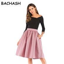 Bachash 2019 새로운 스커트 포켓 패션 봄 가을 볼 가운 스커트 높은 허리 여성 캐주얼 솔리드 느슨한 무릎 길이 스커트