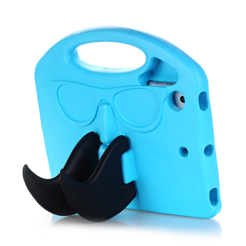 Moustache Shape Silicone Tablet PC Cases For Apple iPad mini 1/2/3/4 Anti-Scratch Tablet Cases with Foldable Kickstand Function